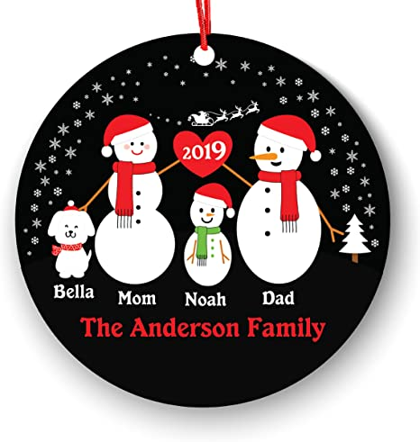 3 Family with Snow Sled Ornament Personalized Family Ornament
