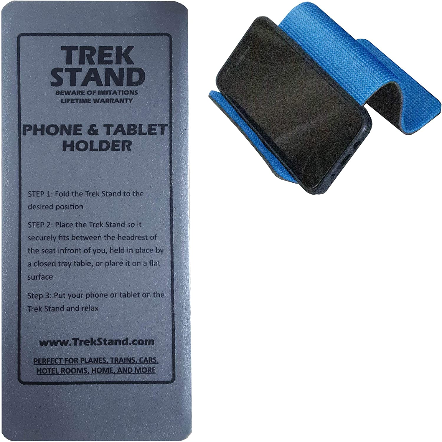 Trek Stand Hands Free Universal Cellphone Holder, Tablet Stand, and Book Holder. for Home, Desk, Bed, Kitchen, Video Chatting, Studying, and Cooking.