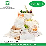"Muslin Organic Reusable produce bag - Set of 6 (2 Large, 2 Medium, 2 Small) All Cotton and Linen Natural Organic Cotton Produce Bags GOTS Approved(2 each of Lg., Med.& Sm.) (8x10"",10x12"",15x12'))"