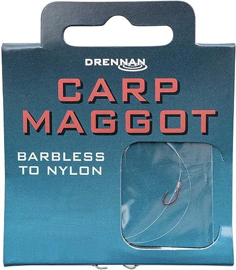 Drennan  barbless hooks to nylon Carp maggot