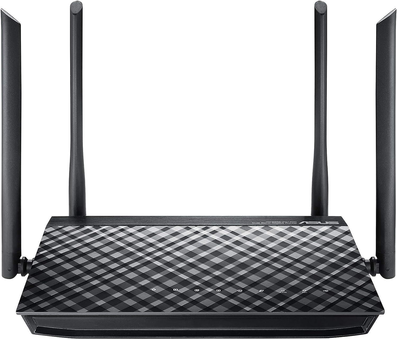 ASUS RT-AC1200G+ - Router inalámbrico AC1200 Doble Banda Gigabit (USB 2.0, modo punto de acceso, triple VLAN)