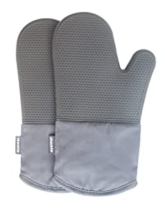 Honla Silicone Oven Mitts - Heat Resistant to 500° F,1 Pair of Non-Slip Kitchen Oven Gloves for Cooking,Baking,Grilling,Barbecue Potholders,Gray