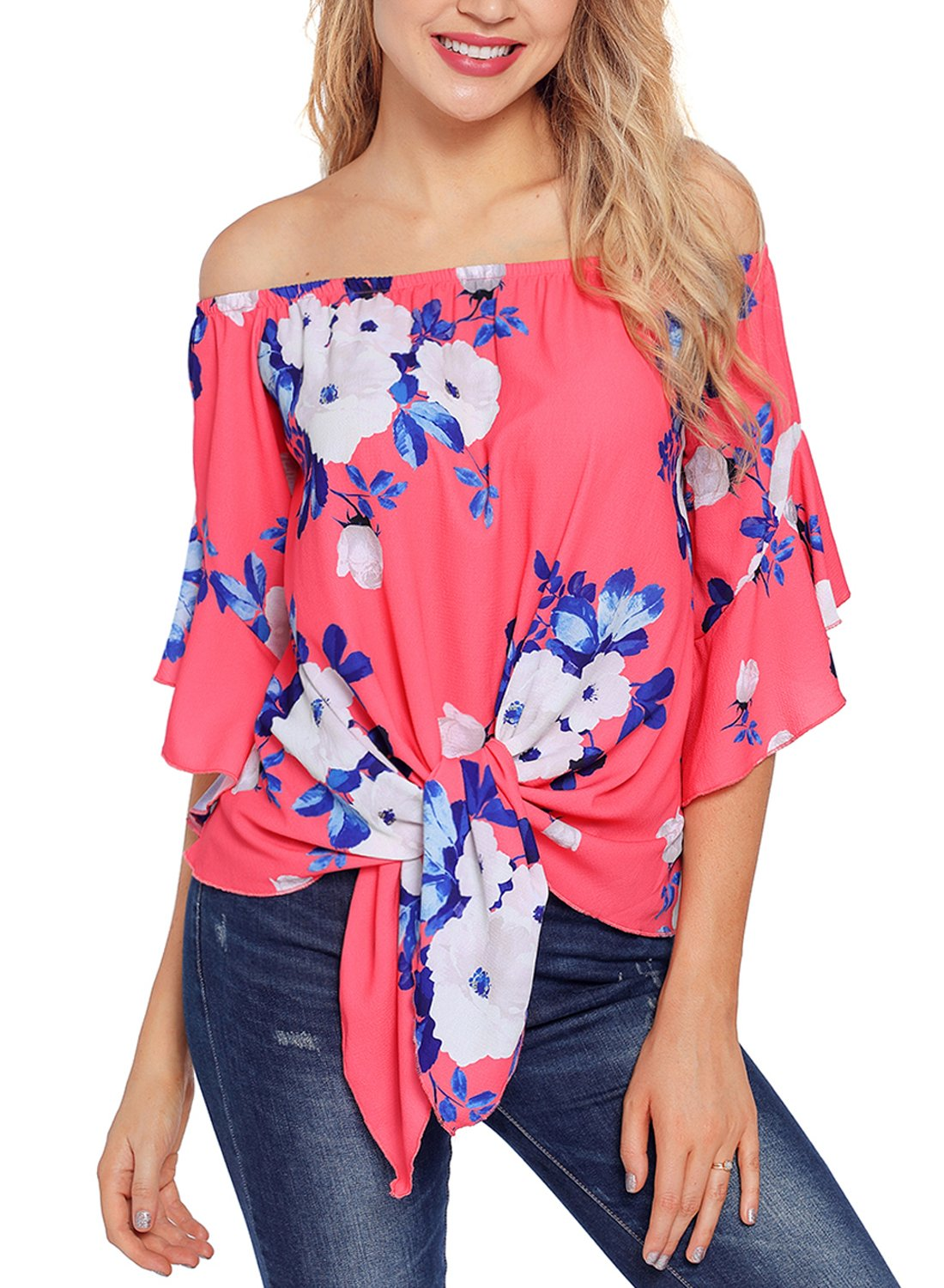 Asvivid Womens Summer Floral Print Off Shoulder Bell Sleeve Loose Office Tshirt Tops Plus Size X-Large Rosy