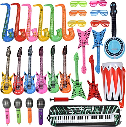"""GREAT FOR PARTIES KARAOKE 3 INFLATABLE GUITARS GIFT FAST SHIPPING 24/"""""""