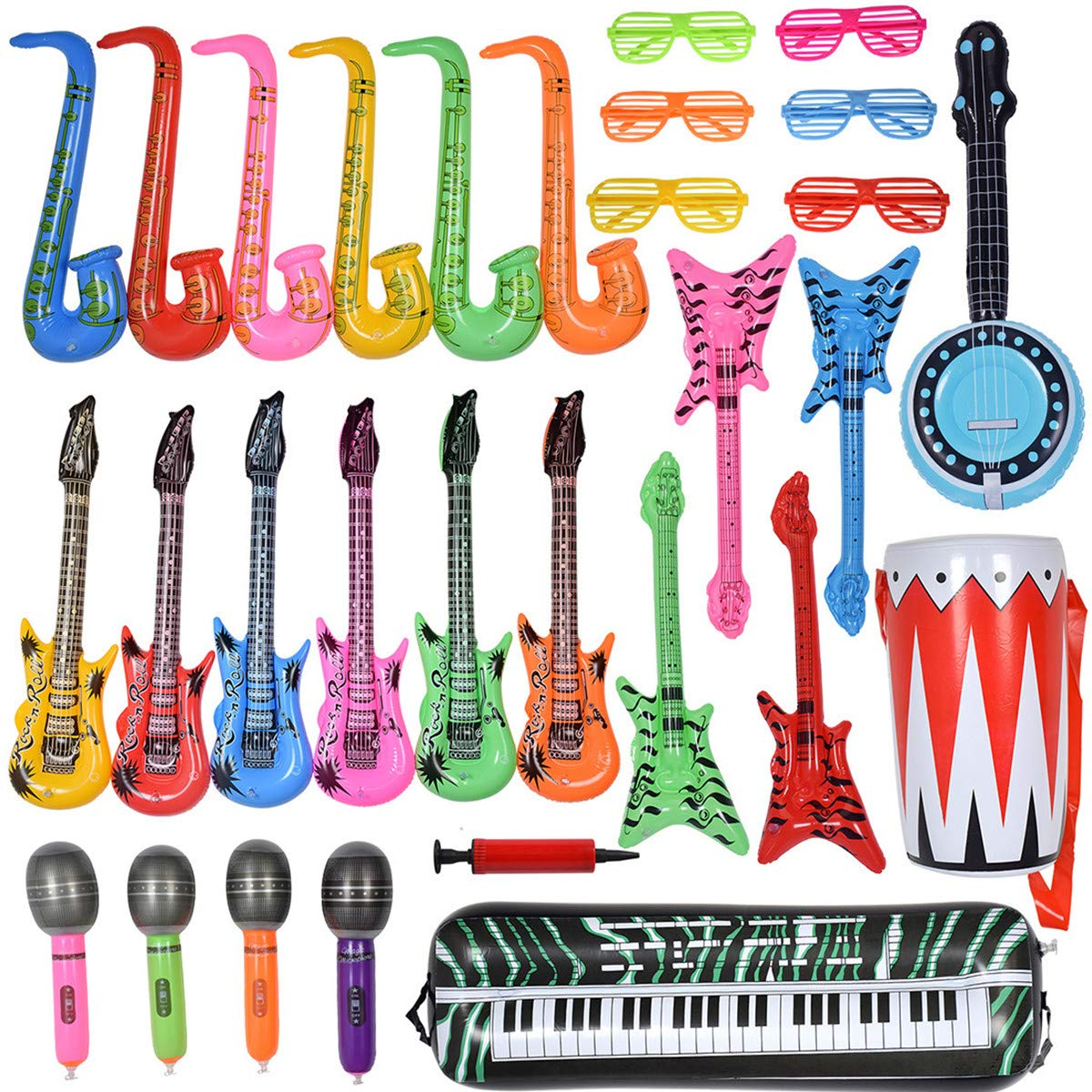 Max Fun Inflatable Rock Star Toy Set, 30 PCS Random Color Inflatable Party Props Musical Instrument Inflate Rock Band Assortment for Concert Theme Party Favors Rock and Roll Party Supplies by Max Fun