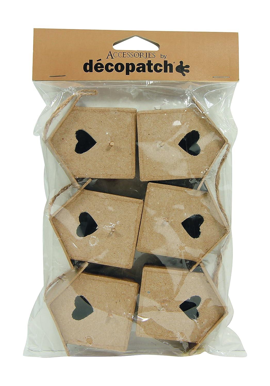 Decopatch - Uccellini di cartapesta con laccio per essere appesi, confezione da 6, colore marrone EV005O