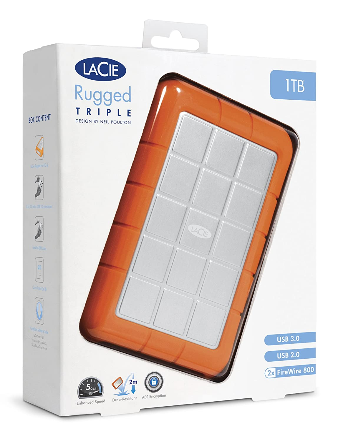 Amazon.com: LaCie Rugged Triple USB 3.0 / Firewire 800 5400 rpm ...