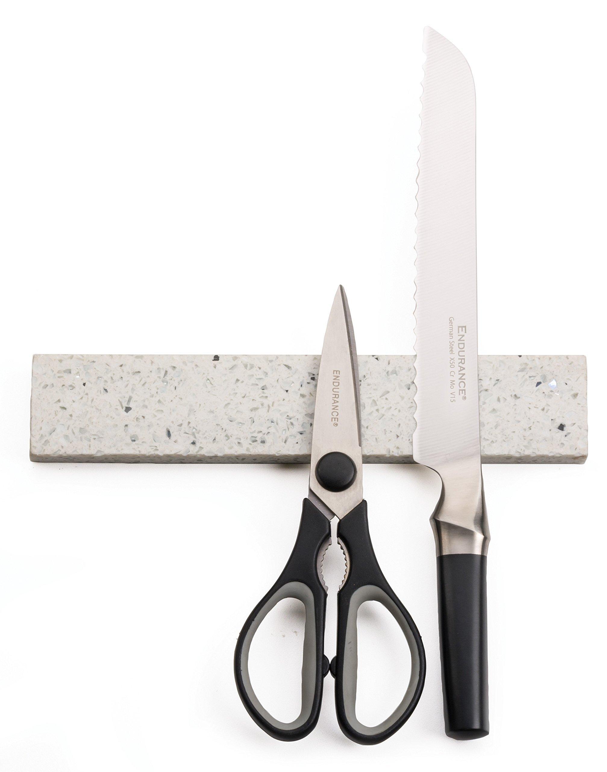 RSVP Quartz Stone 10-Inch Magnetic Knife Bar, White