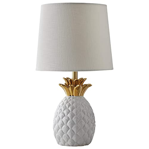 Rivet Pineapple Ceramic Table Lamp, Modern, 18 H, White and Gold