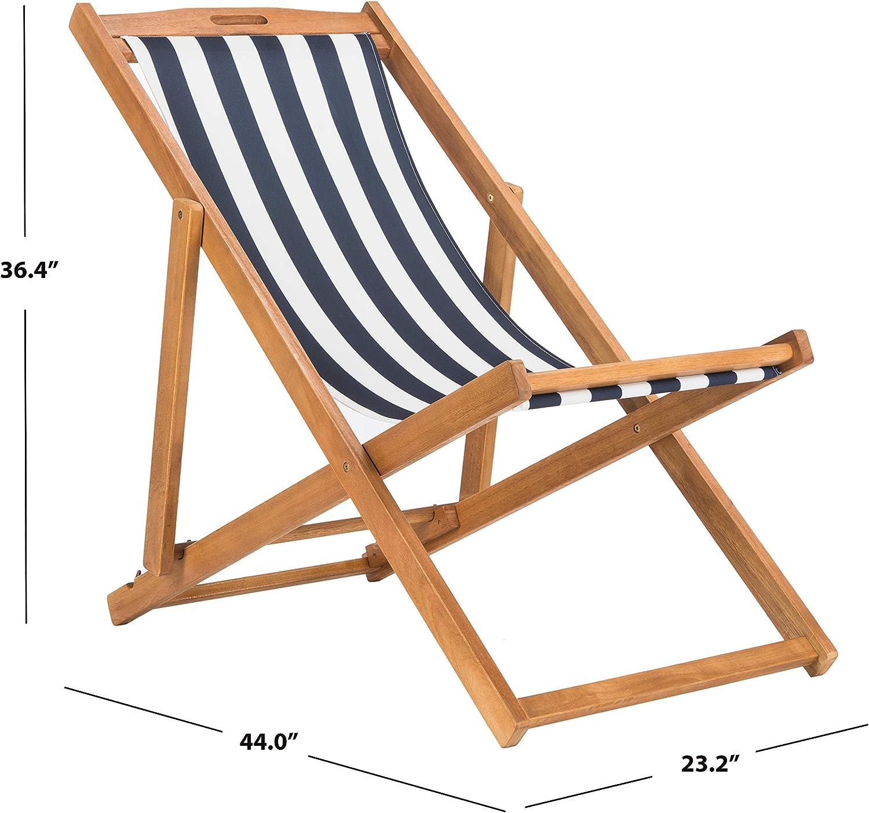 Natural//Navy Stripe White Foldable Sling Adirondack Chair Safavieh PAT7040A-SET2 Outdoor Collection Loren Teak