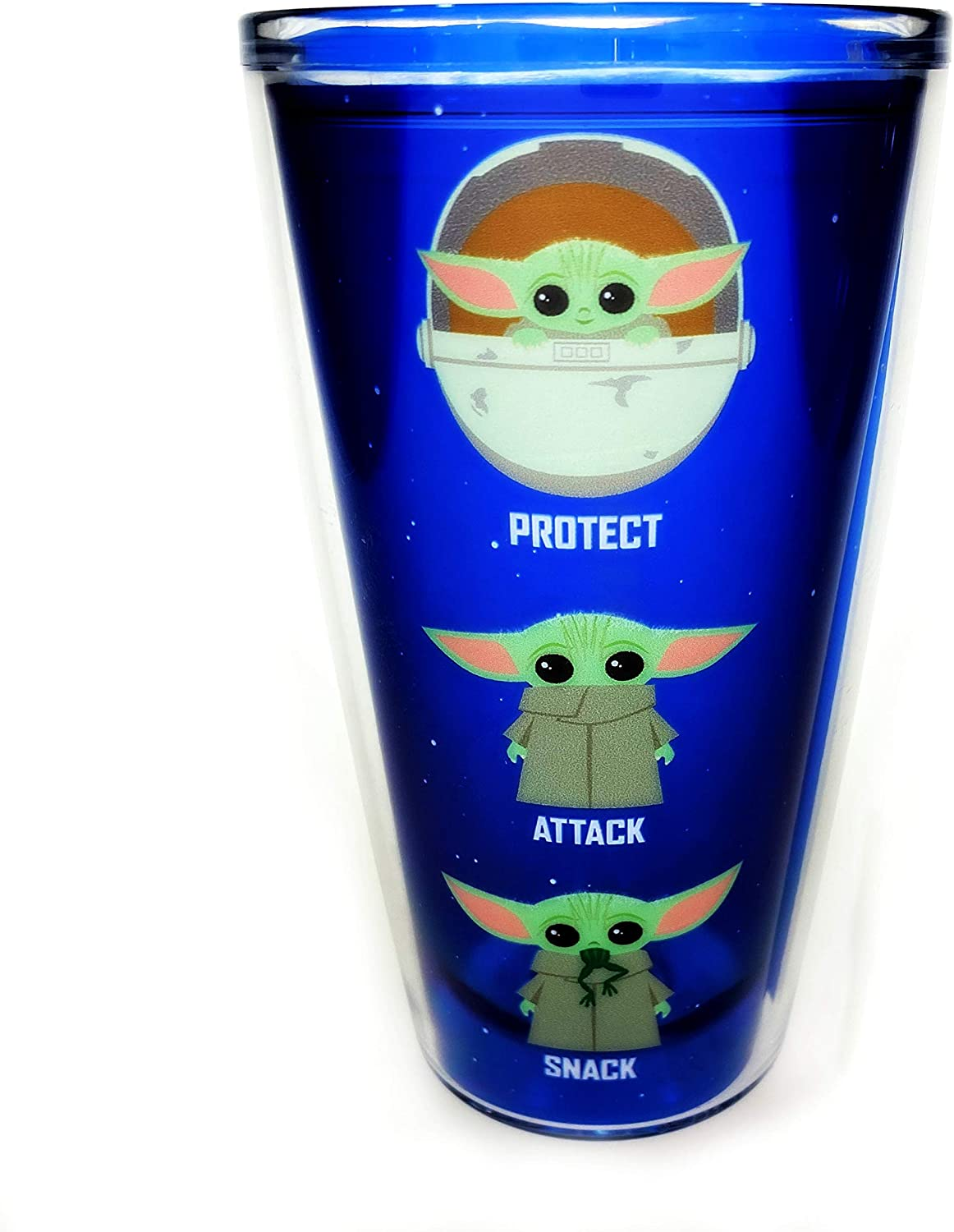 Mandalorian The Child Baby Yoda 16 oz Plastic Tumbler & Lid - Premium Double Walled Insulated Travel Tumbler Lid To Keep Hot Drink Hot and Cold Drinks Cold - Novelty Mug Gift Idea for Star Wars Fans