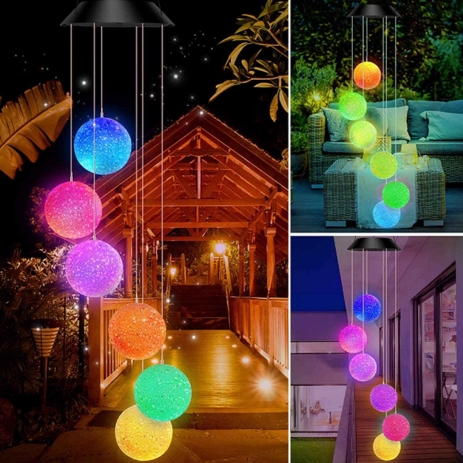 Lampelc Solar Powered Wind Chimes Outdoor Multi Color Changing Solar Crystal Ball Light Waterproof Garden Yard Decor, Gfits for Mother's Day/Christmas