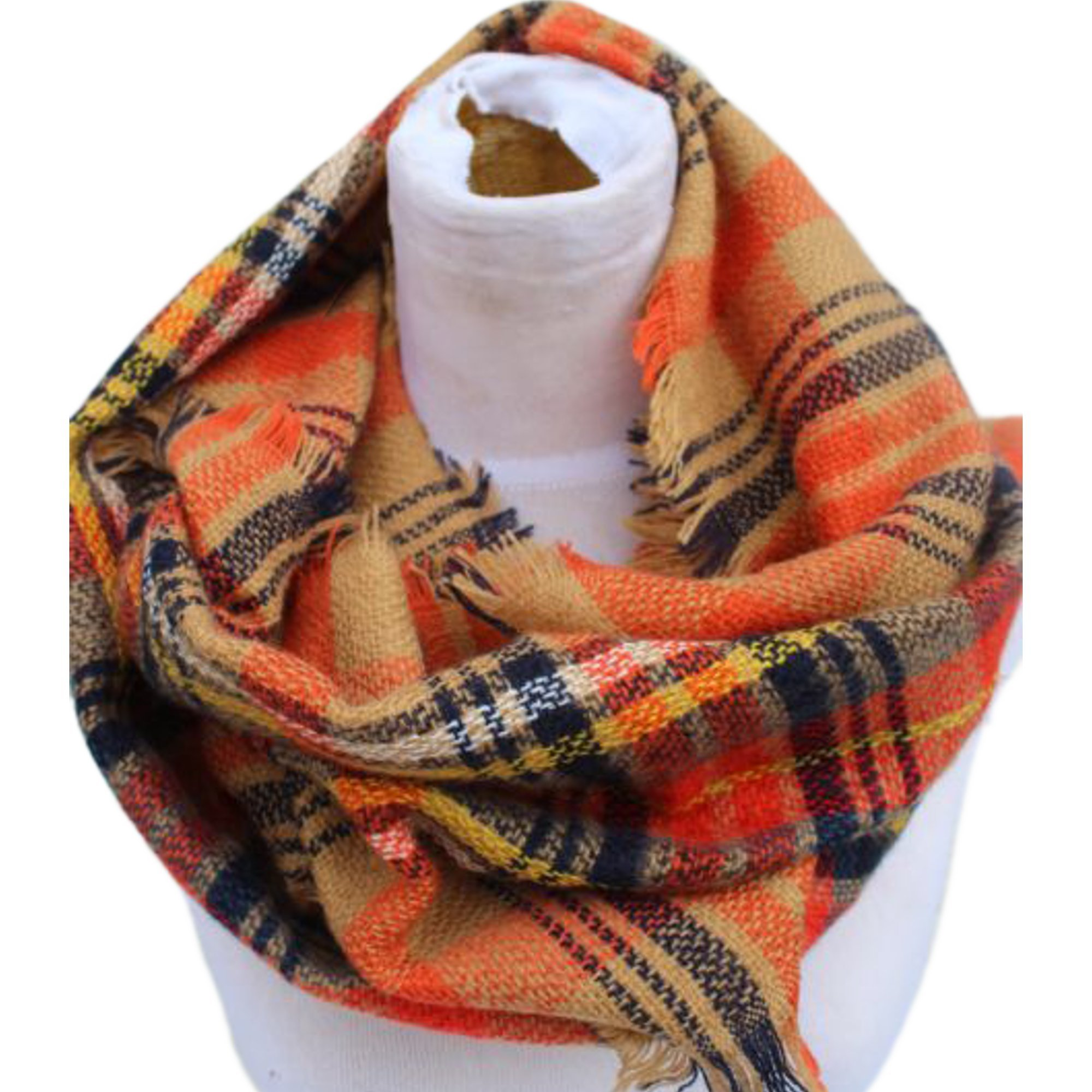 Epic Brand Infinity Scarf Collection for Men and Women | Comfortable Plaid Tartan Cashmere Blanket Circle Winter Scarves (Plaid Orange/Navy Blue)