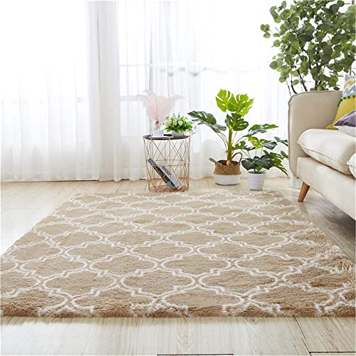 Rainlin Khaki Modern Fluffy Carpets