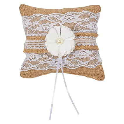 Amazon Com Juvale Ring Bearer Pillow Wedding Ring Cushion