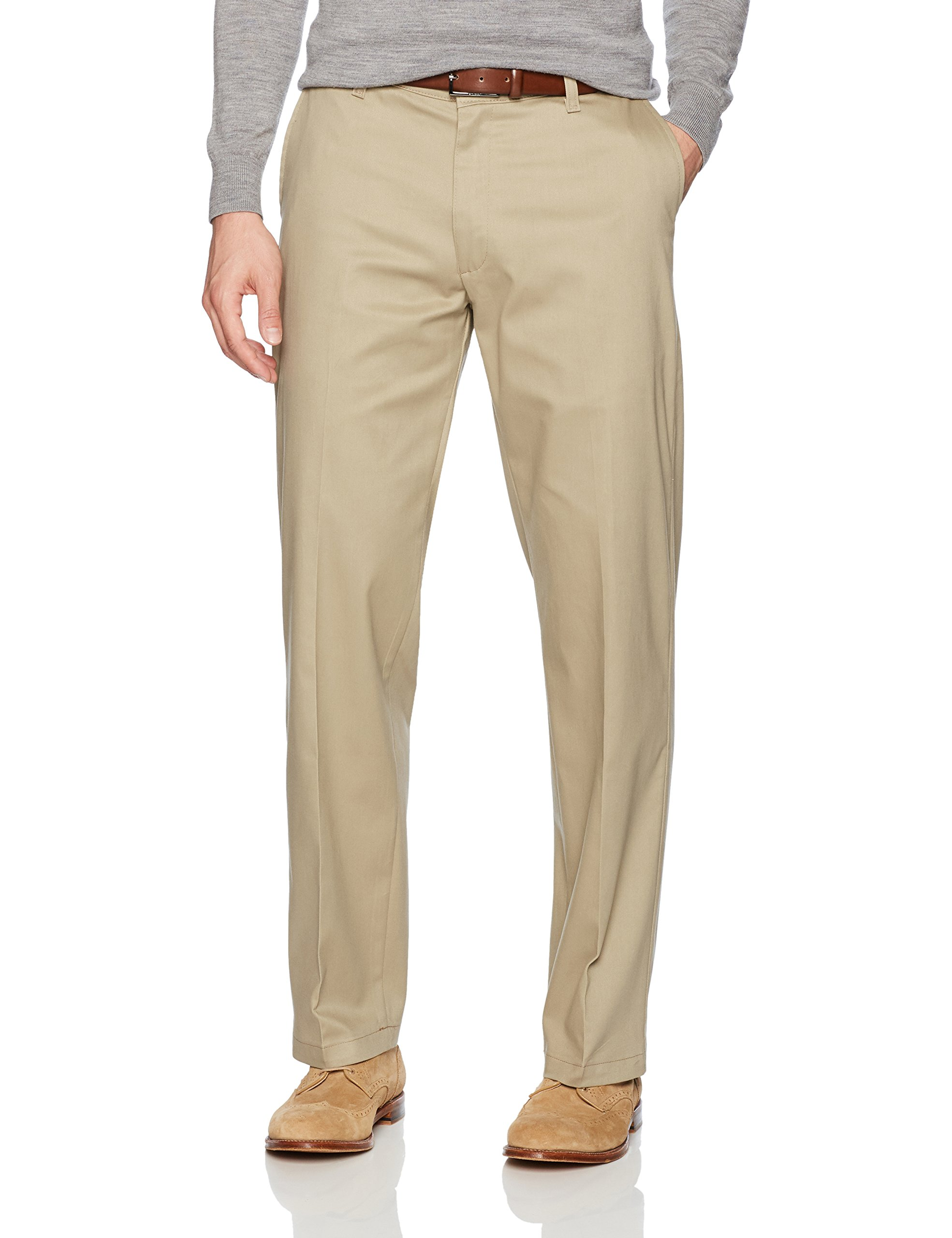 LEE Men's Total Freedom Stretch Relaxed Fit Flat Front Pant, Khaki, 36W x 30L by LEE