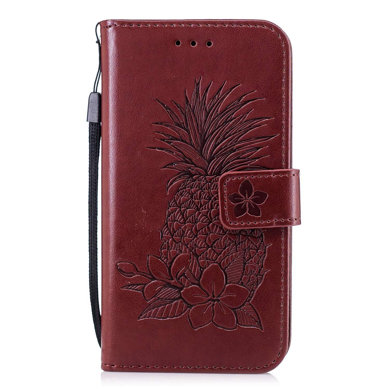 Ysimee Coque Huawei Honor 6A, Motif Ananas Portefeuille Étui pour Huawei Honor 6A en Cuir Housse de Protection à Rabat Fermeture Magnétique Wallet Flip Coque avec Fentes Carte Fonction Support,Rose