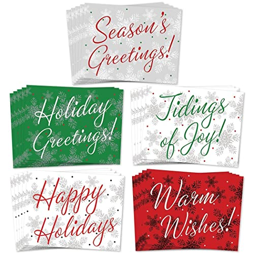 Amazon 25 christmas greeting cards 5 assorted winter 25 christmas greeting cards 5 assorted winter calligraphy designs for happy holiday greetings set m4hsunfo