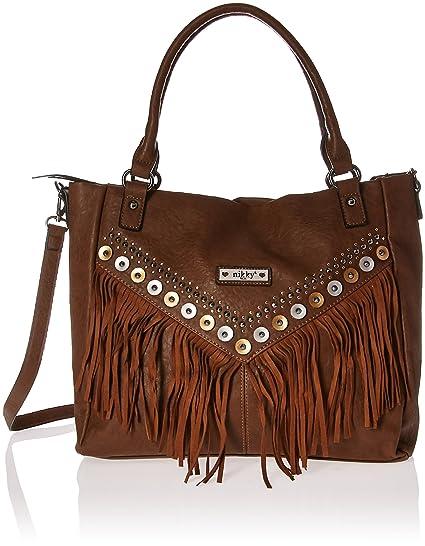 8f6974551f Amazon.com  Nikky Fashion Fringe  Brown  Design Studded Women s Spacious Tote  Bag Shoulder