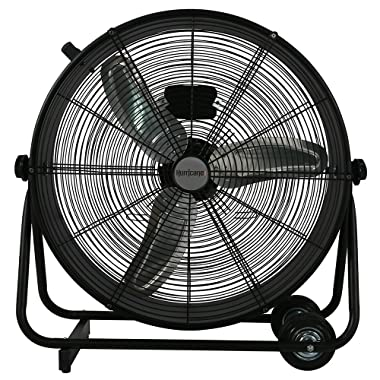 Hurricane Drum Fan - 24 Inch | Pro Series | High Velocity | Heavy Duty Metal Drum Fan for Industrial, Commercial, Residential, and Greenhouse Use - ETL Listed, Black