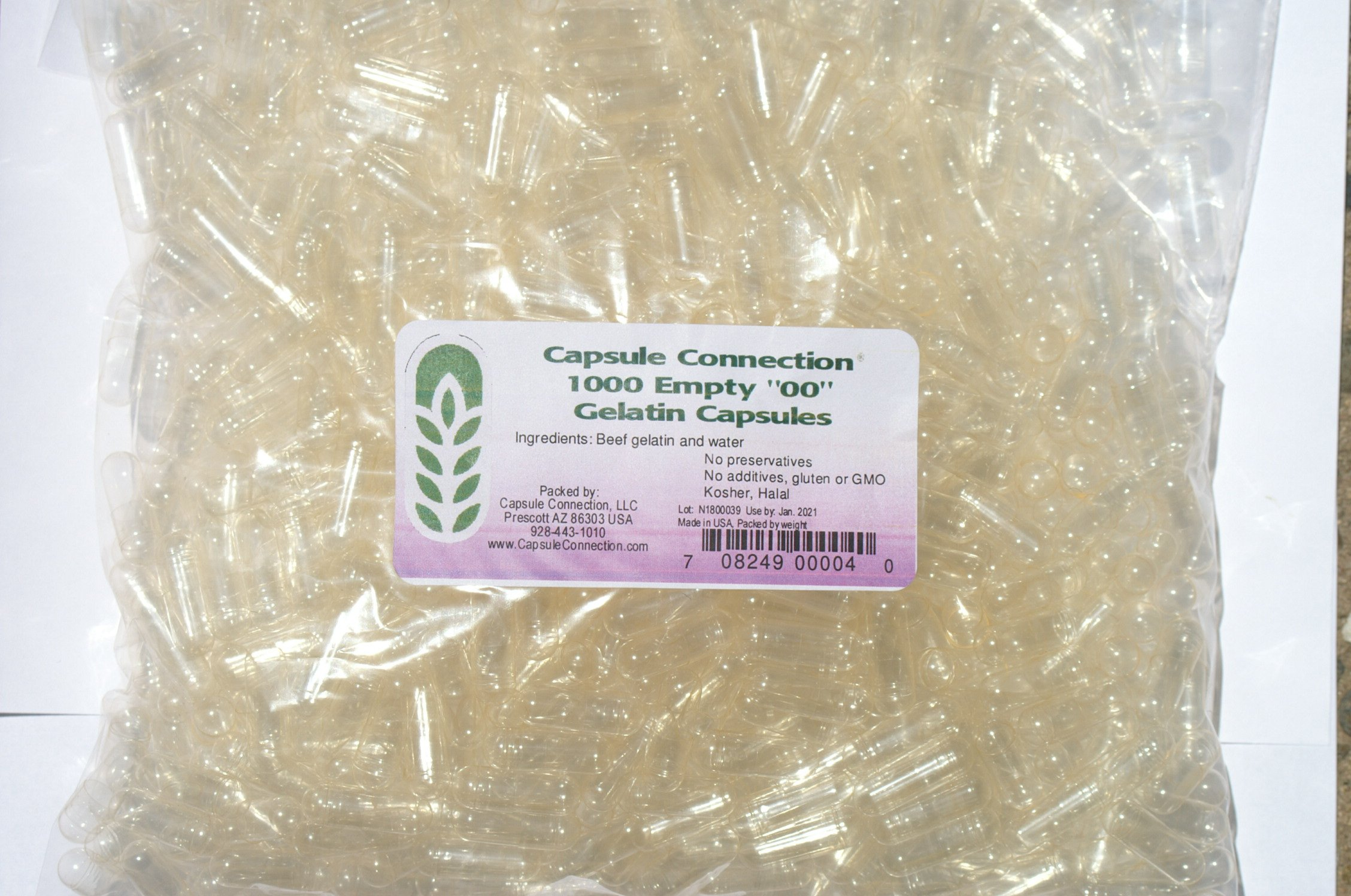 "Capsule Connection 1000 Bulk Wholesale Empty Clear Gelatin Capsules,00"" size,"