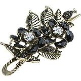 niceeshop(TM) Fashion Vintage Charm Rose Flowers With Leaves Alligator Clip Hair Clip-Antique Bronze&Black