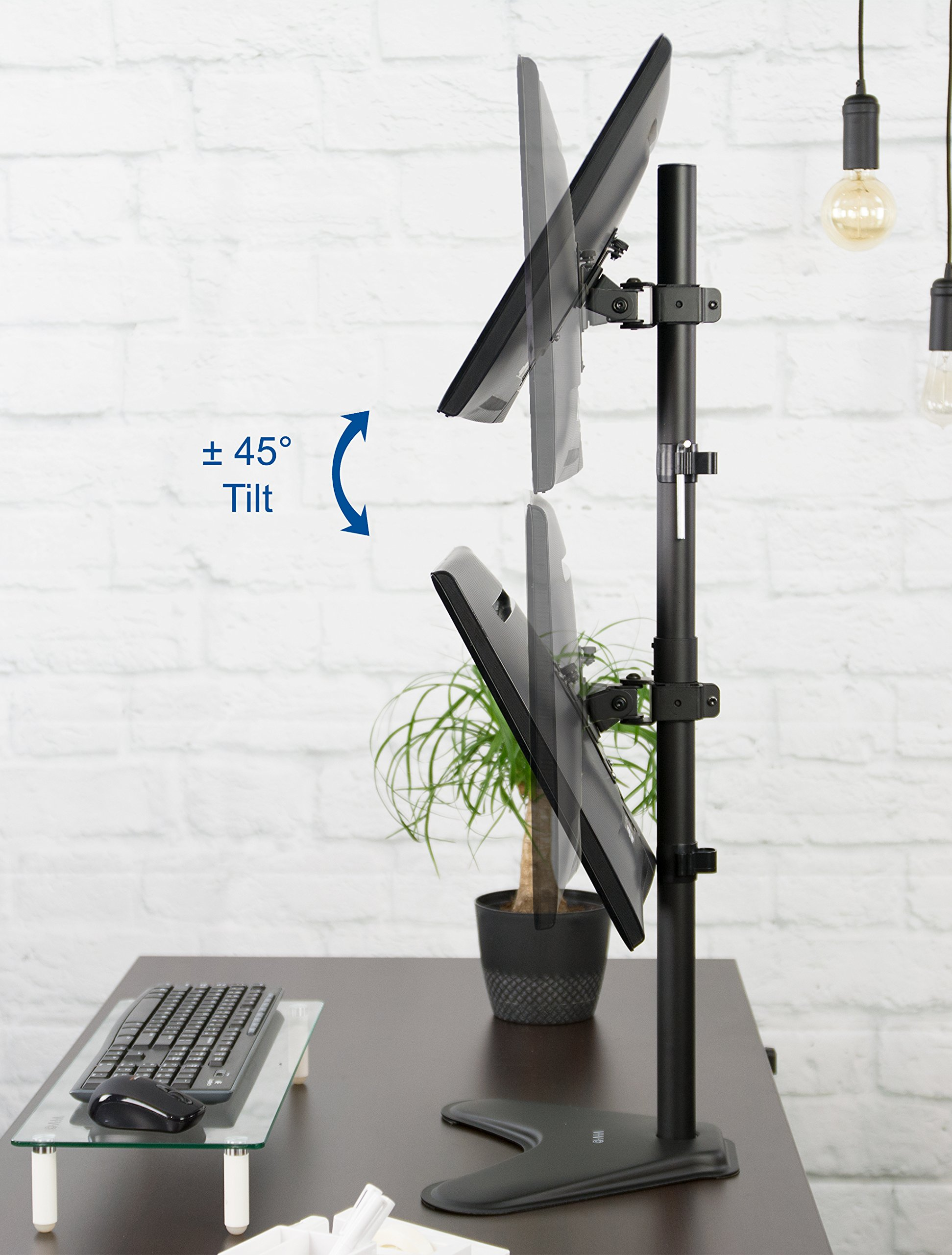 VIVO Dual Monitor Desk Stand Free-standing LCD mount, Holds in Vertical Position 2 Screens up to 30'' (STAND-V002L) by VIVO (Image #6)