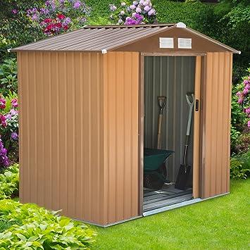 Outsunny - bloqueable caseta de jardín herramienta de patio de las señoras grande caja de almacenamiento edificio Fundación cobertizos de metal muebles al ...