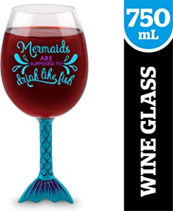 BigMouth Inc Mermaid Tail XL Wine Glass, Funny Novelty Wine Glass, Holds 750ml, Mermaid Gift Idea
