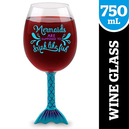 ee4c1fc3fed BigMouth Inc Mermaid Tail XL Wine Glass, Funny Novelty Wine Glass, Holds  750ml, Mermaid Gift Idea