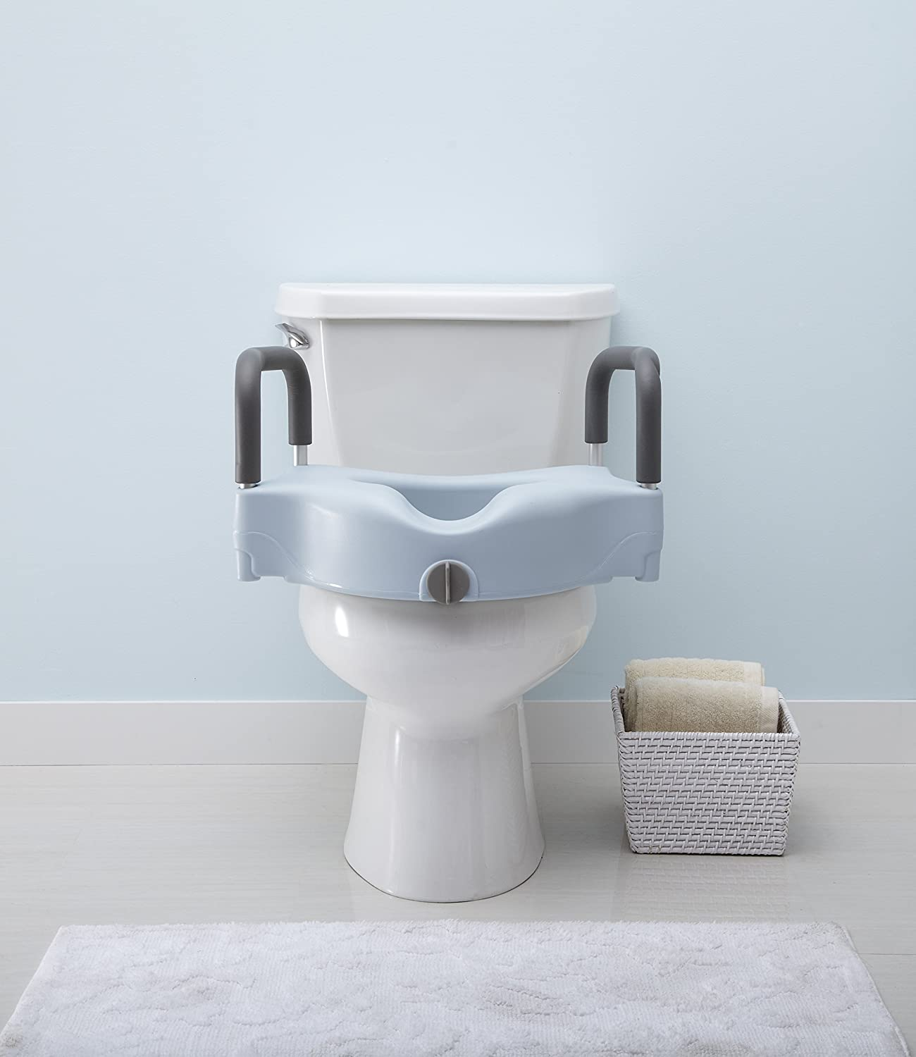 Amazon.com: Medline Locking Elevated Toilet Seat with Arms, Microban ...