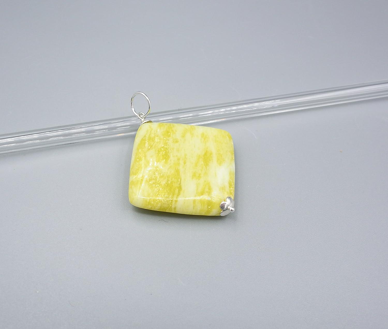 Zitronen gelber Jade Anhä nger - Jade Anhä nger - gelbe Jade Anhä nger - 925 Silber