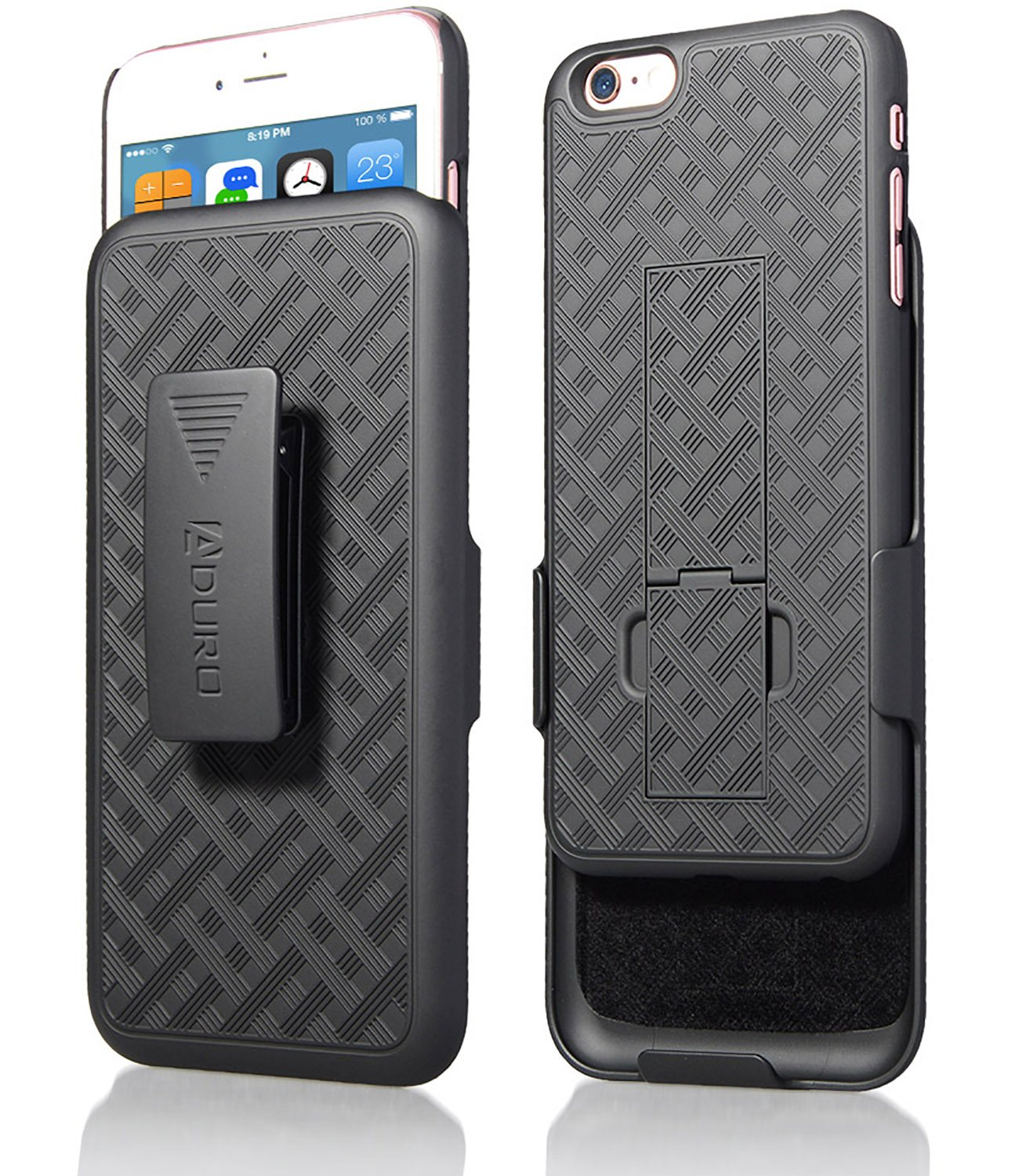 iPhone 6S Plus / 6 Plus (ONLY) Case, Aduro COMBO Shell & Holster Case Super Slim Shell Case w/ Built-In Kickstand + Swivel Belt Clip Holster for Apple iPhone 6S Plus / 6 Plus by Aduro