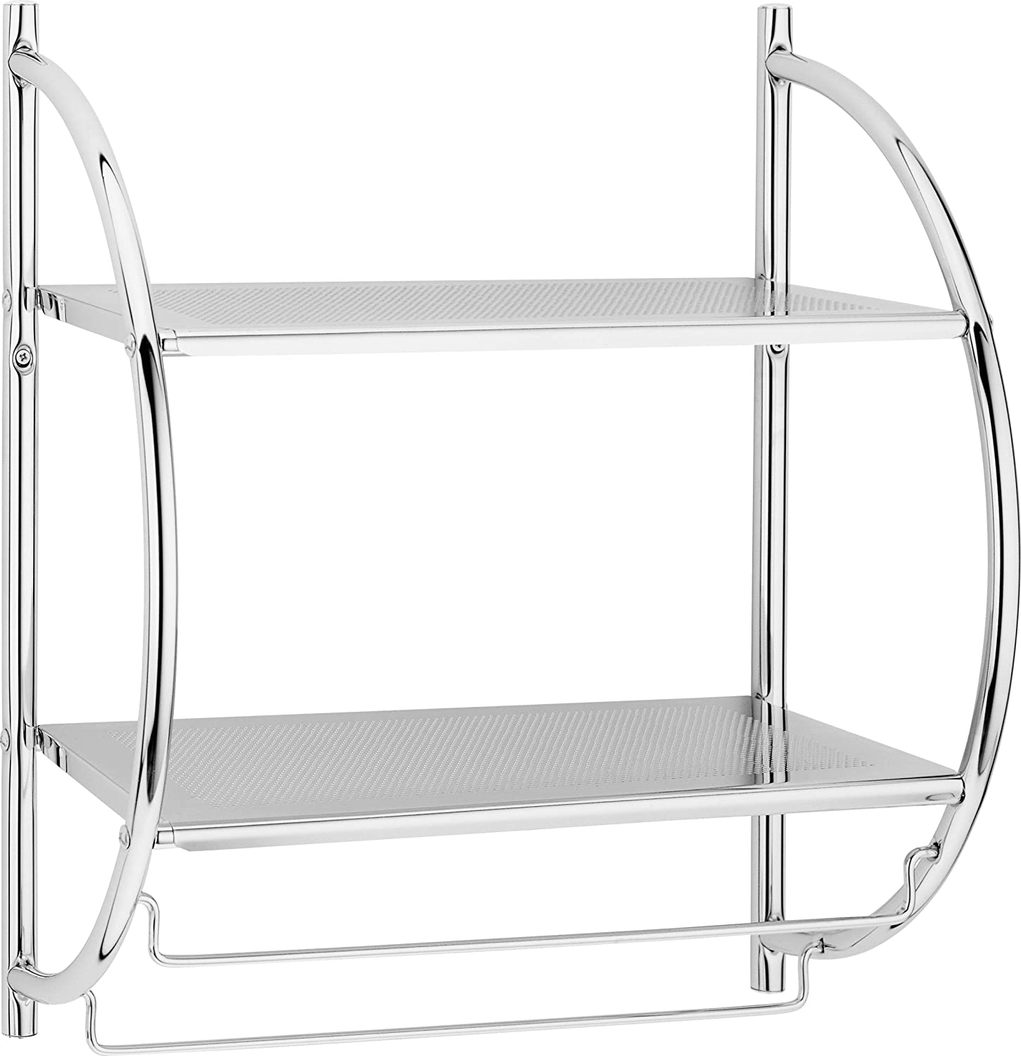 New 2 TIER MODERN CHROME WALL MOUNTED BATHROOM SHELF UNIT TOWEL RAIL RACK