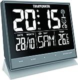 Wecker Funkwecker Wanduhr lautlos XL groß digital mit hochauflösendem Negativ-Display USB Anschluss zur ext. Stromversorgung Temperaturanzeige und Kalender Tasten Frontseite grau Telefunken FUX-500-HRB (G)