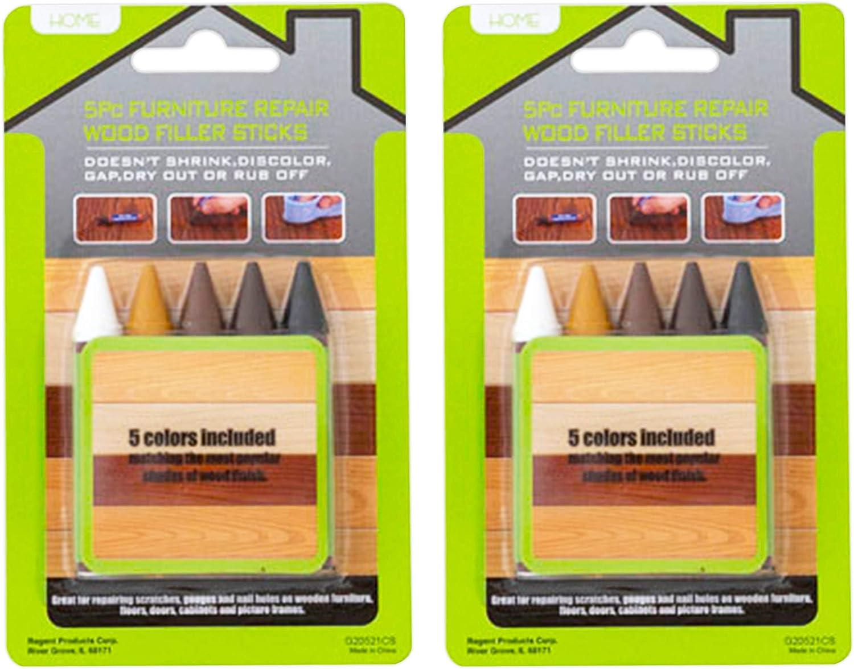 Furniture Repair Wood Filler Sticks ~ 10 Pc Furniture Marker Wax Sticks, 5 Colors, Furniture Touch Up Repair