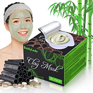 20 Pack Clay Peel Off Face Masks, Clay Mud Mask Skin Care Facial Mask Sheet Mask with Hydrating, Hyaluronic Acid Moisturizing, Brightening, Soothing, Acne Remover