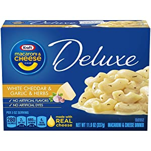 Kraft Deluxe White Cheddar & Garlic & Herbs Macaroni and Cheese Dinner, 11.9 oz Box