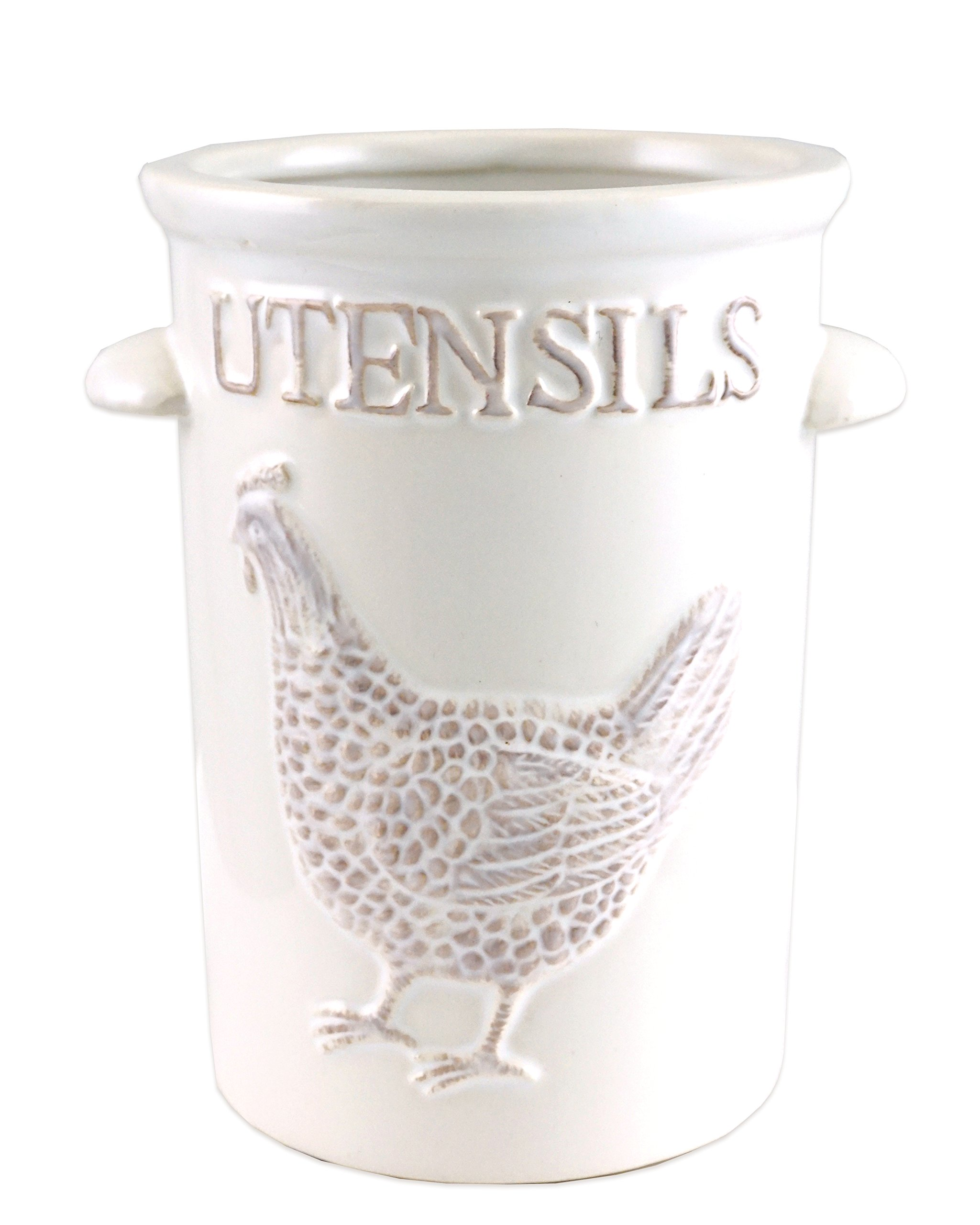 Farmhouse Rooster Kitchen Utensil Ceramic Holder by Party Explosions