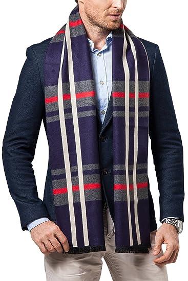 Pa/ñuelo caliente para ocio y negocios Hombre Lana de invierno lujosa ligera y suave Plaid Cashmere Bufanda Dolamen Unisex Hombre Mujer Bufanda con borlas