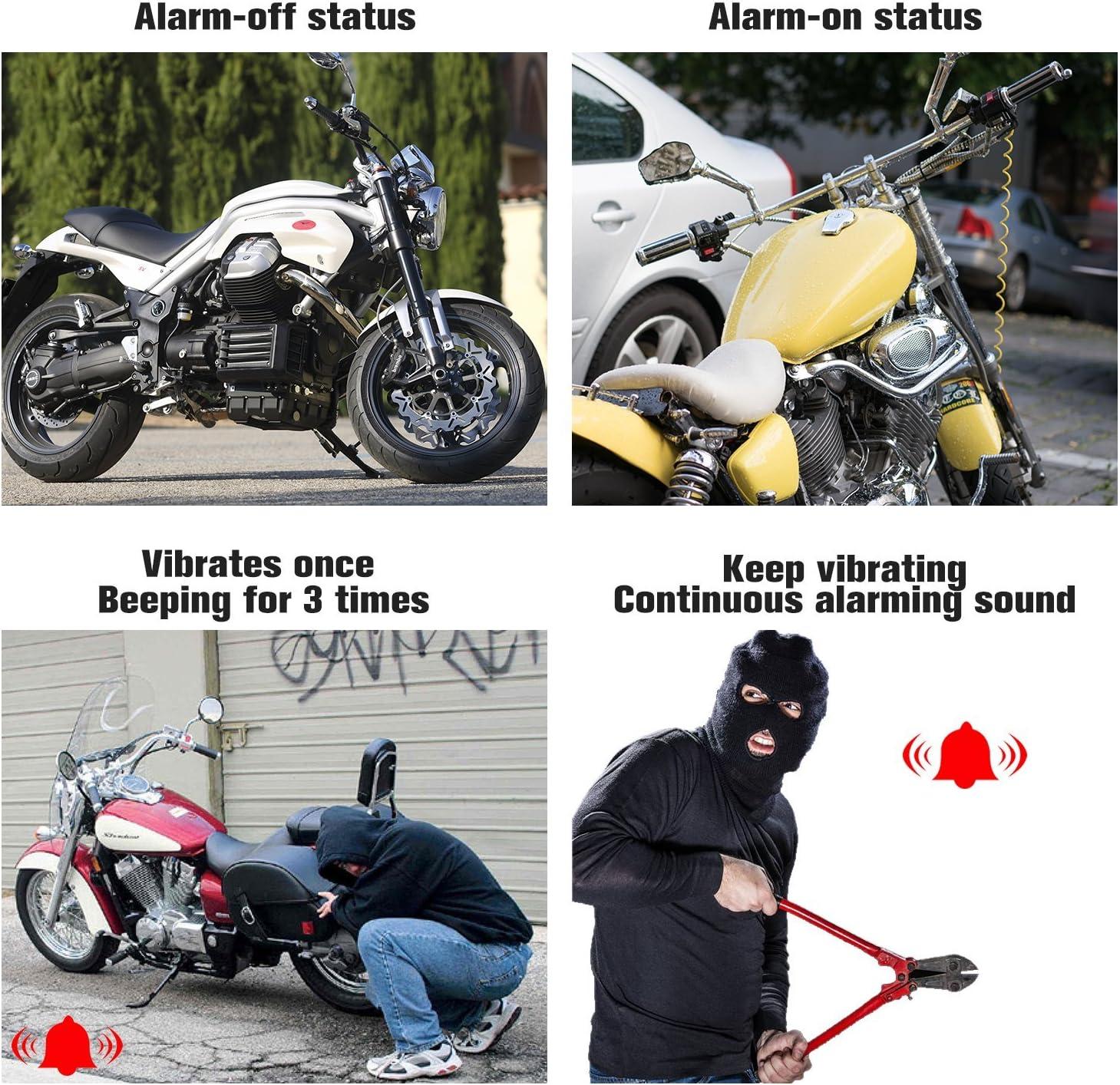 black Moto alarme cadenas frein /à disque serrure roue disque serrure moto alarme pour motos en plein air v/élos Camping