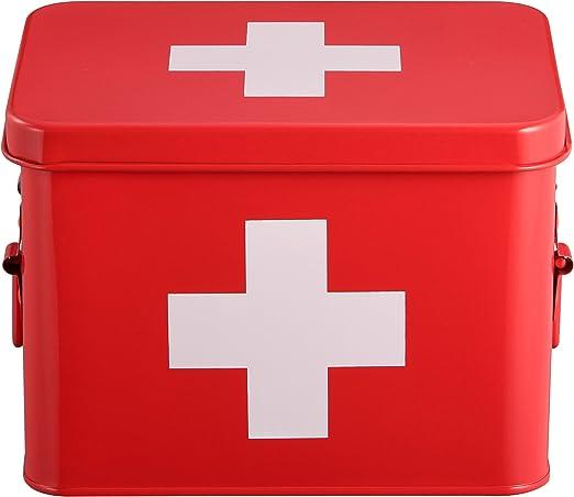 Mari Home - Botiquín de color rojo, de doble capa y 4 compartimentos, de metal, para almacenamiento. Kit de primeros auxilios no incluido - 22,5 x 16,5 x 16 cm: Amazon.es: Hogar