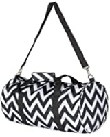 "19"" Round Chevron Print Duffle Bag with Handles and Shoulder Strap"