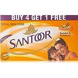 Santoor Plain Bathing Bar, 150g (Buy 4 Get 1 Free)
