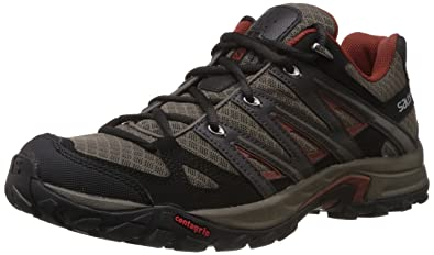 Salomon Men's Eskape Aero Hiking Shoe,Swamp/Asphalt/Deep Red,9 M