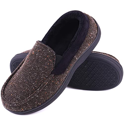 1005fd7876f LongBay Men s Memory Foam Moccasin Slippers Plush Fleece House Shoes in  Indoor Outdoor Loafer Style