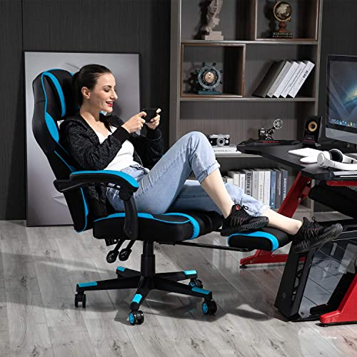 AJS PC Gaming Chair Computer Ergonomic Video Game Chair Adjustable Swivel Recliner High Back PU Leather Desk Chair Lumbar Support