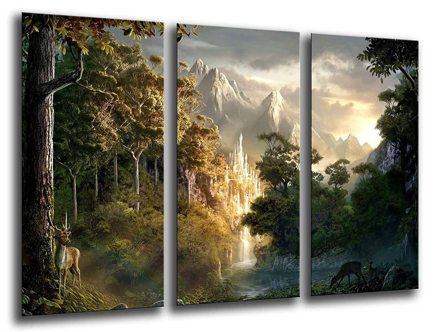 MULTI Wood Printings Art Print Box Framed Picture Wall Hanging - (Total Size: 38,2