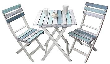 Amazon De Balkonset Shabby Design Tisch 2 Stuhle Beistelltisch