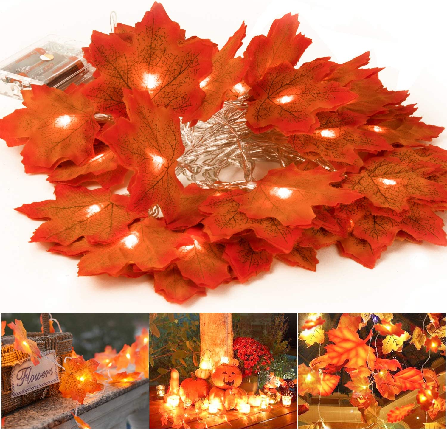 Buluri 6M String Lights Maple Leaf Light,Thanksgiving Fall Decorations Light,40 LED Lights for Indoor Outdoor Thanksgiving Gift,Christmas Decor 3AA Battery Operated Fall Garland String Lights(40)